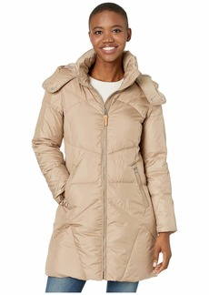 Cole Haan Down Coat w/ Intricate Angular Quilt Stitching and Removable Hood