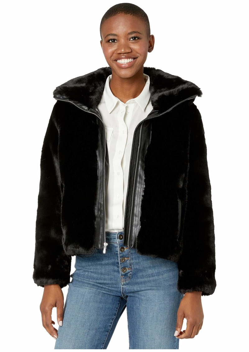 Cole Haan Faux Fur Jacket w/ Convertible Stand Collar