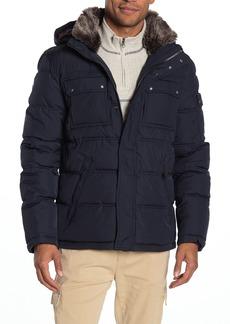 Cole Haan Faux Fur Trim Hooded Zip Puffer Jacket