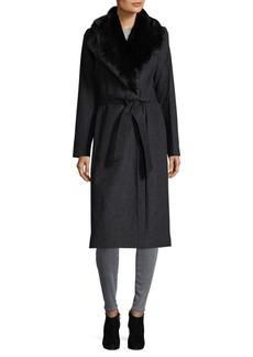 Cole Haan Faux Fur Wrap Coat