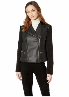 Cole Haan Faux Leather Biker Jacket with Faux Sherpa Sleeves