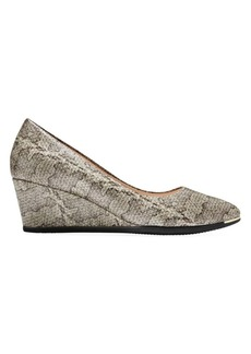 Cole Haan Grand Ambition Snake-Embossed Leather Wedge Pumps
