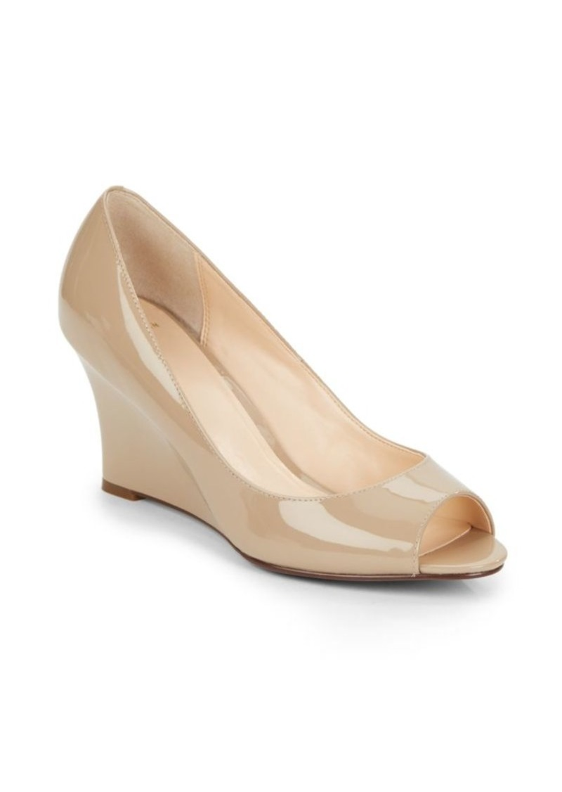 13bd8ab80ff23 On Sale today! Cole Haan Kenzie Patent Leather Peep-Toe Wedge Pumps