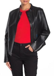 Cole Haan Lamb Leather Zip Front Jacket