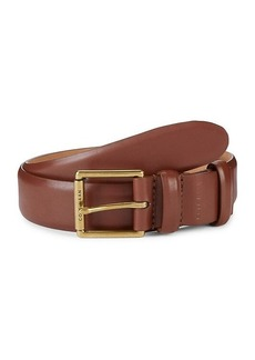 Cole Haan Leather Square-Buckle Belt