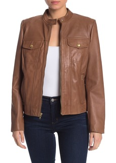 Cole Haan Lamb Leather Zip Pocket Jacket