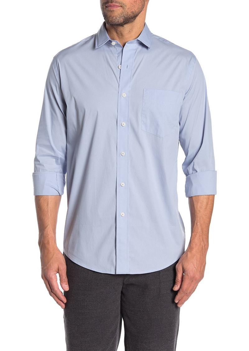 Cole Haan Slim Fit Long Sleeve Horizontal Stripe Woven Shirt