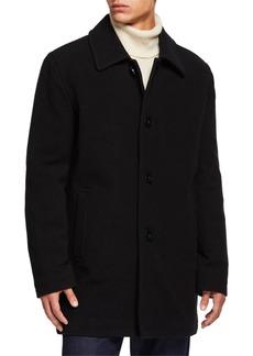 Cole Haan Long Wool-Blend Car Coat  Beige