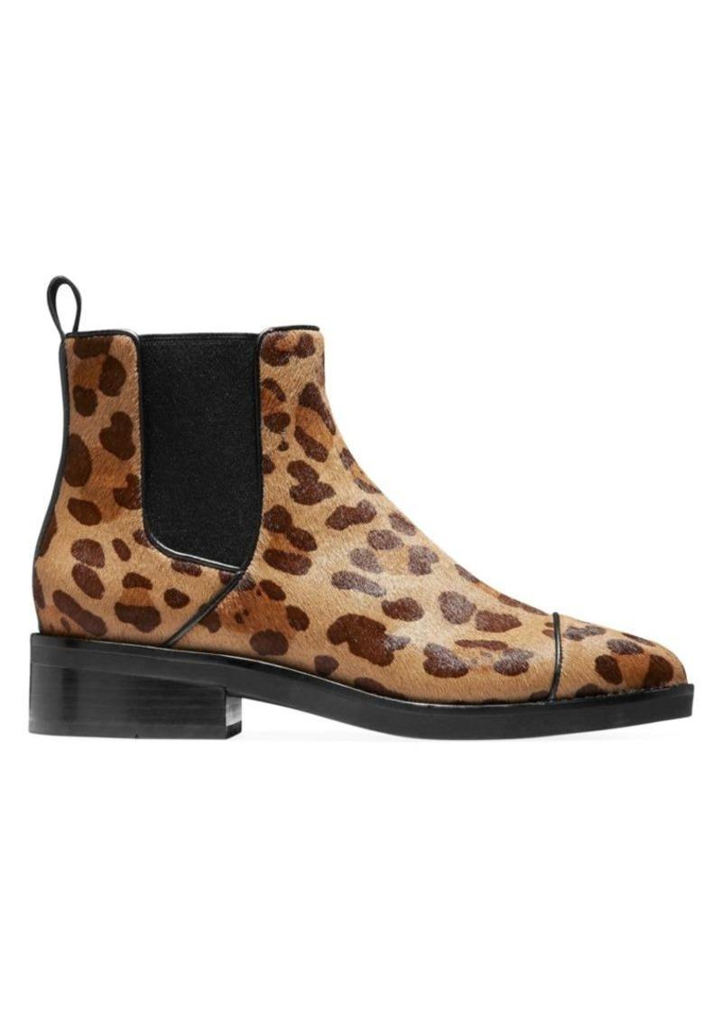 Cole Haan Mara Grand Leopard-Print Calf Hair Leather Chelsea Boots