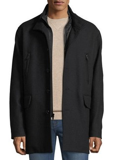 Cole Haan Men's Wool-Twill Nylon-Bibbed Jacket