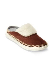 Cole Haan Metallic Topstitch Shearling Slippers