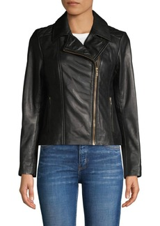 Cole Haan Notch Collar Leather Jacket