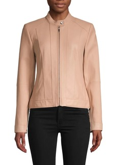 Cole Haan Paneled Leather Moto Jacket
