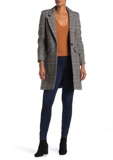 Cole Haan Plaid Single Button Wool Blend Coat
