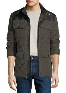 Cole Haan Quilted Plaid-Yoke Mixed-Media Jacket