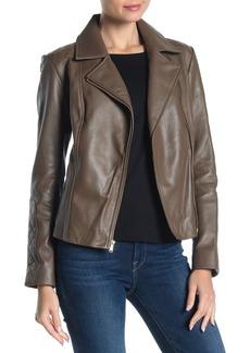 Cole Haan Quilted Shoulder Zip Front Lamb Leather Moto Jacket