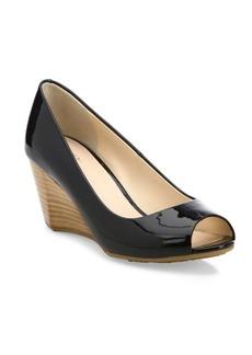 Cole Haan Sadie Patent Leather Peep Toe Wedge Pumps