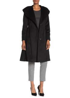 Cole Haan Wool Blend Shawl Collar Belted Coat