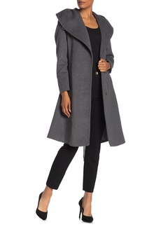 Cole Haan Wool Blend Shawl Collar Belted Coat (Regular & Plus Size)