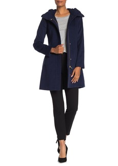 Cole Haan Wool Blend Zip Font Hooded Coat