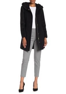 Cole Haan Wool Blend Zip Font Hooded Coat