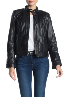 Cole Haan Zip Front Lamb Leather Moto Jacket