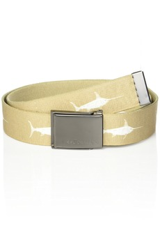 Columbia Men's Military Web Belt - Casual for Jeans Pants Adjustable One sizee Cotton Metal Plaque Bucklekhaki/white ee