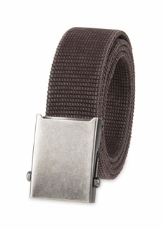 Columbia Men's Military Web Belt-Adjustable  Cotton Strap and Metal Plaque Buckle