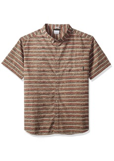 Columbia Men's Rapid Rivers Printed Short Sleeve Shirt British tan Stripe