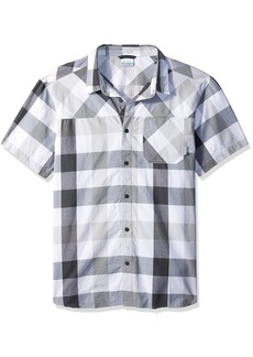 Columbia Men's Thompson Hill Yarn Dye Short Sleeve Shirt Grey Large Check
