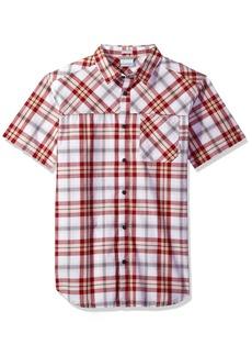 Columbia Men's Thompson Hill Yarn Dye Short Sleeve Shirt red Element Plaid