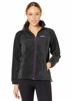 Columbia Women's Benton Springs Full Zip Jacket Soft Fleece with Classic Fit Black/Wild iris Petite X-Large