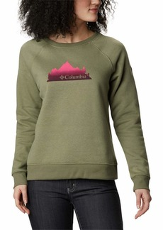 Columbia Women's Hart Mountain Graphic Crew Stone Green/CSC Gradient Peak