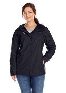 Columbia Women's Plus-Size Tested Tough In Pink Rain Jacket II Plus