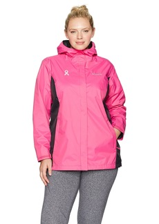 Columbia Women's Plus Sizetested Tough In Pink Rain Jacket II Size