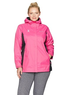 Columbia Women's Plus SizeTested Tough in Pink Rain Jacket Ii Size Ice/Black