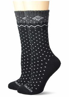 Columbia Women's Stripe&Dottie Wool Crew Socks-2 Pairs 2Prs black