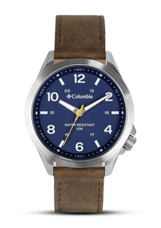 Columbia Men's Analog Leather Strap Watch, 42mm