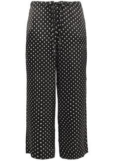 Commando Woman Printed Silk-satin Pajama Pants Black