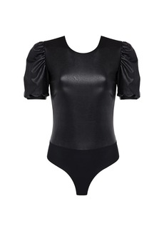 Commando Puff-Sleeve Faux Leather Bodysuit