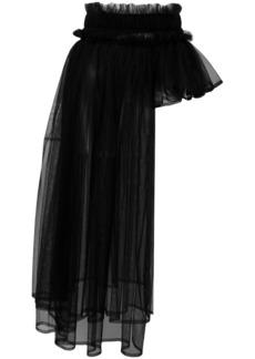Comme des Garçons asymmetric pleated tulle overlay skirt