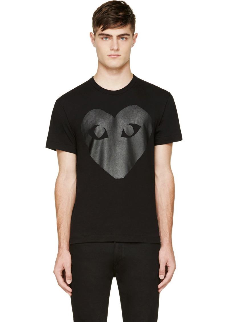 Comme des Garçons Black & Carbon Glossy Heart Logo T-Shirt