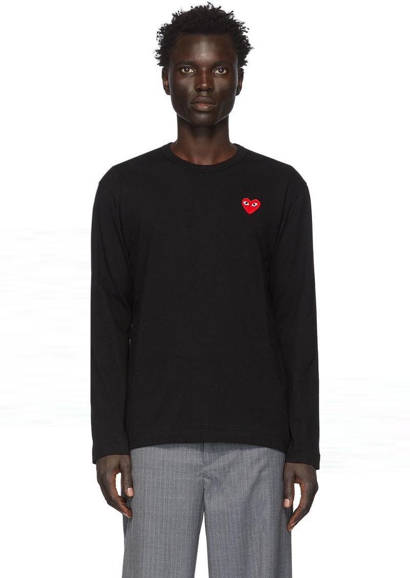 Comme des Garçons Black & Red Heart Patch Long Sleeve T-Shirt