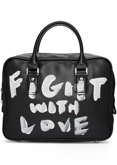 Comme des Garçons Black Faux-Leather Hand-Painted Bag
