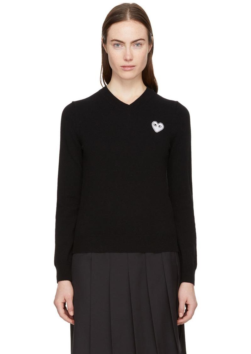 Comme des Garçons Black Heart Patch V-Neck Sweater