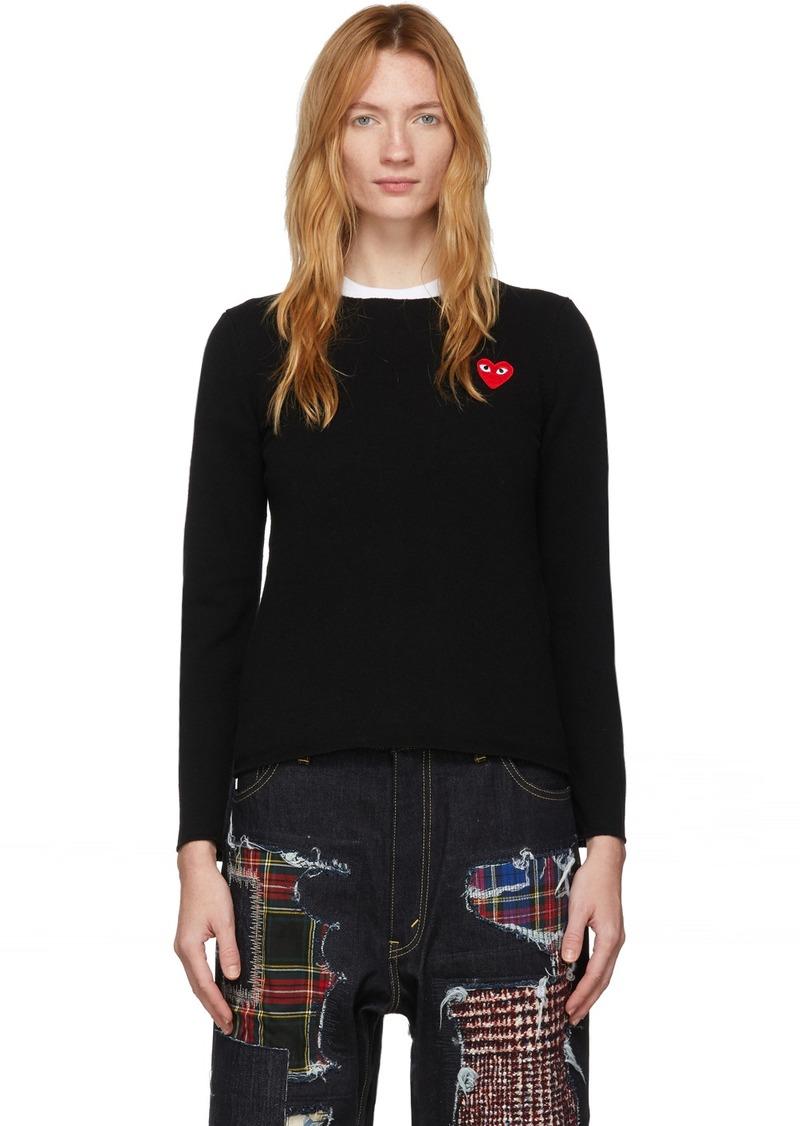 Comme des Garçons Black Wool Heart Patch Sweater