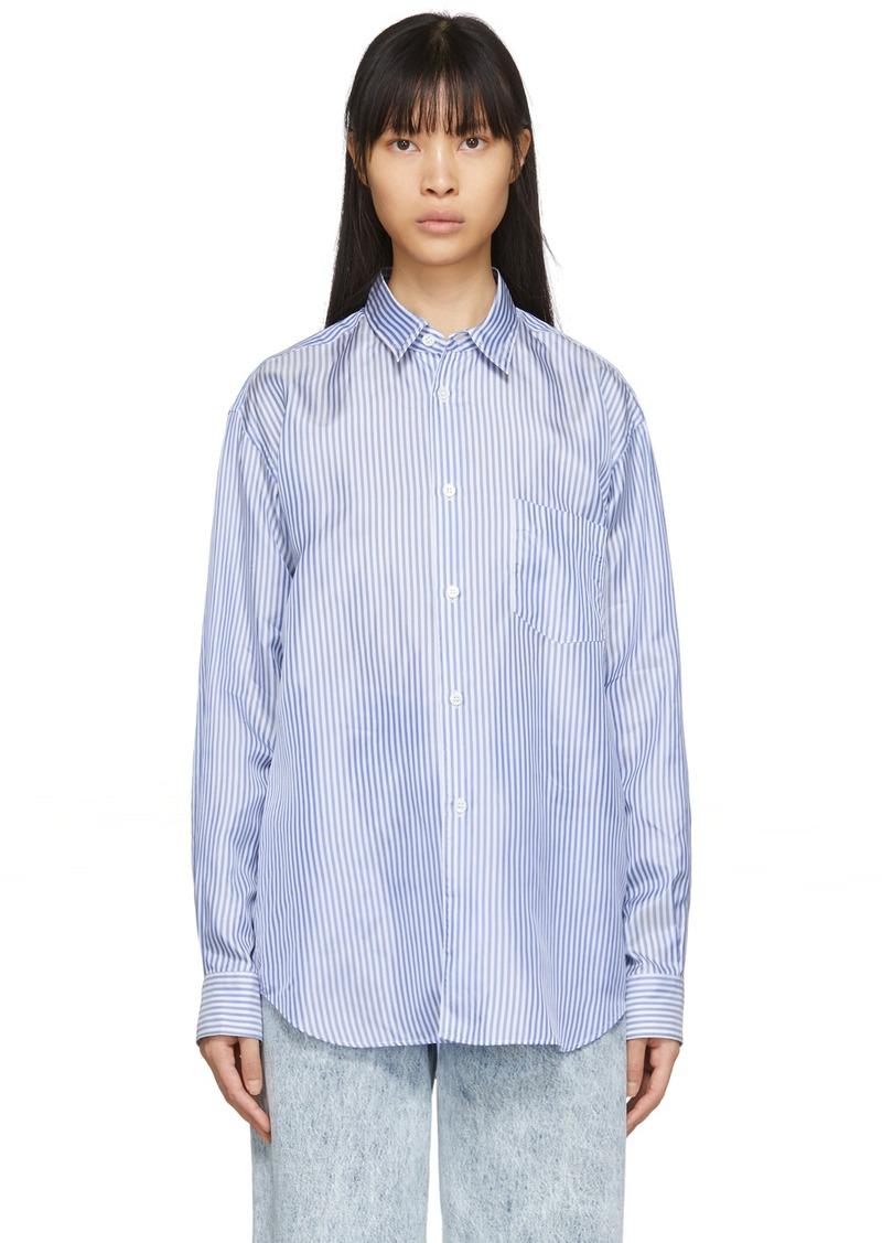 Comme des Garçons Blue & White Cupro Striped Forever Shirt