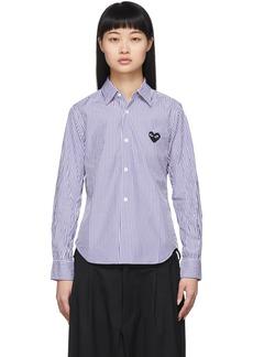 Comme des Garçons Blue & White Striped Small Heart Shirt
