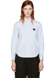 Comme des Garçons Blue Striped Heart Patch Shirt