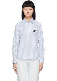Comme des Garçons Blue Striped Heart Patch Shirt